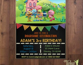 Henry Hugglemonster Birthday Party -Photo Invitation- Chalkboard Invitation - Invite - Disney Junior - Digital File - Printable