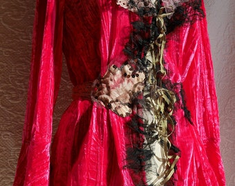 "RESERVED Raspberry Crumpled velvet viscose vest ""Roksana"", Very feminine, Unique, Art to wear, beautiful bohemian"