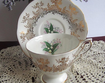 Royal Standard by Chapmans 2196 with Lily of the Valley and Gold Details Bone China Tea Cup and Saucer