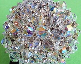 Vintage Brooch Pin Large, Round, Aurora Borealis Crystals, Knockout Sparkler, Evening, Professional Woman