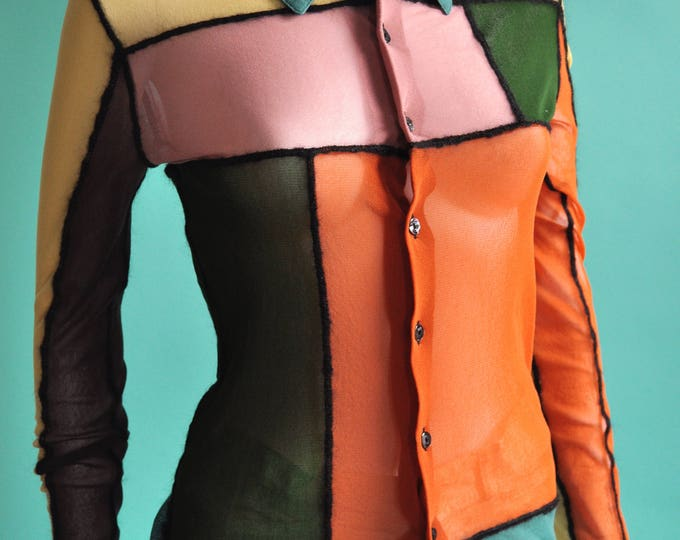 Featured listing image: Jean Paul Gaultier Sheer Color Block Blouse