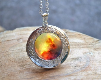 Yellow Galaxy Necklace, Nebula Necklace, Photo Locket, Galaxy Locket, Locket Necklace, Space Pendant,Picture Jewelry