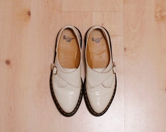 DR MARTENS - Agnes Womens Leather Pointed Monk Shoes - Off White - UK 6