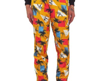 FIORRUCI 80s Tropical Print Quilted Pants SIZE 42 Yellow Vintage Palm Tree Ski