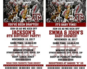 Printable Texas A & M Aggies College Football Birthday Party Invitation NCAA Ticket Invitation Baby Shower Invitations