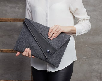 Pure black Merino wool felt clutch bag black large felt