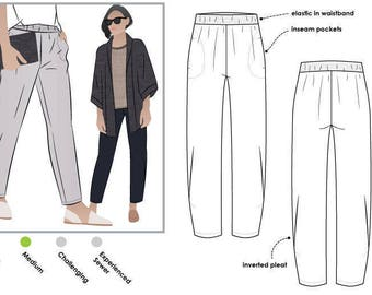 Besharl Pant // Sizes 26, 28 & 30 // Style Arc PDF Sewing Pattern for a Women's Pant // Instant Download