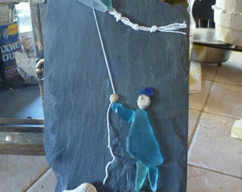 Fly a Kite, Beach Glass, Sea Glass, Pebble Art, Unique, Slate, Blue Glass, Sea Glass Art, Beach Glass Art,