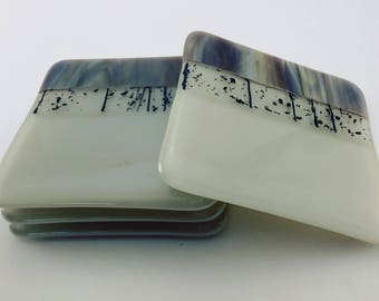 Tan and Brown Fused Glass Coasters