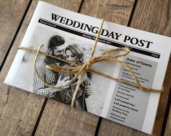 Newspaper Wedding Programs Printed - Fun program idea for brunch wedding. Photos, custom crossword puzzle. Unique rustic or vintage decor.
