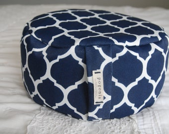 Upcycled Zafu Meditation Cushion (Navy)