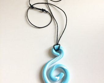 Blue spiral pendant necklace. Gift for her. Polymer clay pendant. Long pendant necklace. Modern pendant. Light blue jewellery.