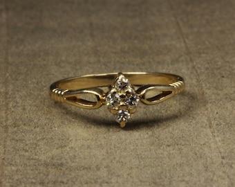 Estate, 14K Yellow Gold Diamond Ring