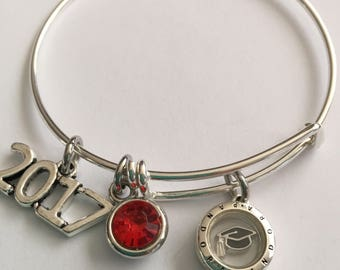 Graduation sterling silver bracelet- sterling silver Mini floating locket with birthstone-Sterling silver bracelet