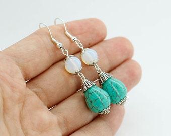 Turquoise earrings Moonstone earrings Dangle earrings Silver earrings Wedding jewelry for bride jewelry for Bridesmaid gift for sister gift