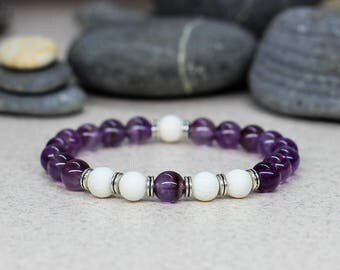 Amethyst bracelet Purple bracelet Boho bracelet Fertility bracelet Balance bracelet Reiki healing bracelet Birthstone bracelet Reiki jewelry