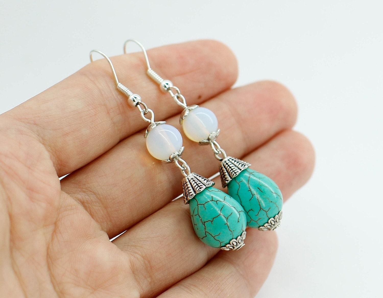 turquoise earrings moonstone earrings dangle earrings silver. Black Bedroom Furniture Sets. Home Design Ideas