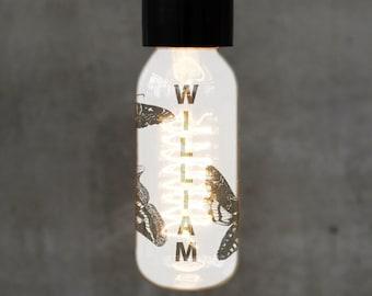 Personalised Engraved Moth Filament Lightbulb T45 Spiral