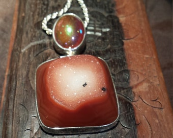 Sterling silver carnelian and iridescence  fire agate pendant with sterling rope chain