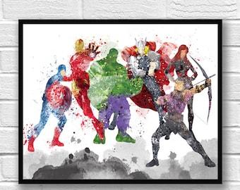 Avengers Watercolor Print, Movie Poster, Wall Art Print, Hulk, Iron Man, Captain America, Thor, Black Widow, Hawkeye, Kids Room Decor - 145