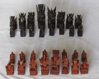 Vintage wooden South Asian carved chess pieces, vintage Hand carved chess set, carved chess pawns, vintage chess pawns, pawns for chess!