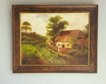 Vintage Oil Landscape Painting with English Thatched Roof Cottage in Quarter Sawn Old Oak Frame, 1920s 1930s, Plein Aire Sketch on Mat Board