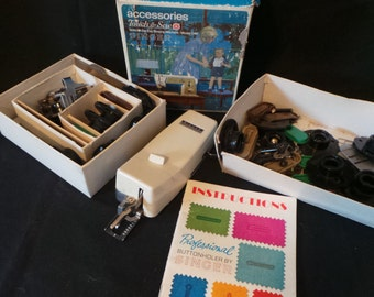 SALE Vintage Singer Professional Buttonholer Touch And Sew Accessories Sewing Machine Lot Of Parts And Pieces