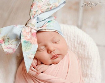 VINTAGE BLUE FLORAL Gorgeous Wrap- headwrap; fabric head wrap; floral head wrap; boho; newborn headband; baby headband; toddler headband