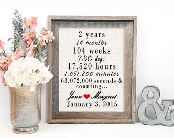 2 year wedding anniversary gift, 2nd wedding anniversary, Wedding gift, Anniversary gift, two years and counting