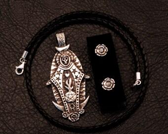 Santisima Muerte jewelry set, 925 sterling silver, Wicca, Santeria, Santa, goddess, voodoo, hoodoo, magic, rose, witch, witchcraft, lost wax