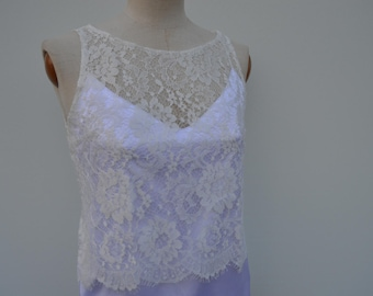 Clearance 30% lace wedding bridal lace ecru top crop Top