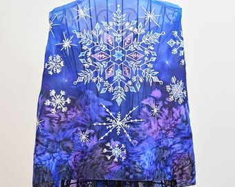 """Hand painted silk scarf """"Dancing Snowflakes in the Night sky""""- deep blue scarf-snowflakes scarf"""