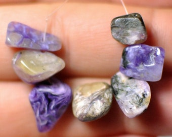 7 pcs 100 % Natural Russian Charoite Beads Freeform shape Ring size