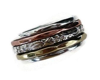 Spinner Ring Narrow Copper Silver Brass 3 Ring with Detailing, Narrow Spinner Ring, Fancy Spinning Ring, Slim Spin Ring, Mistry Gems, SP50