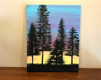 Treeline Hand Painted Canvas, Tree Canvas, Skyline Painting, Sunset Canvas, Painted Canvas, Blue Canvas, Tree Art Decor, Canvas Art