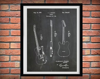 Patent 1951 Fender Telecaster Guitar  - Designed by Clarence Fender - Rock Band Guitar - Music Room Art - Orchestra art - Electric Guitar