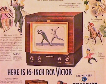 1949 RCA Victor TV Ad Matted Vintage Print Television