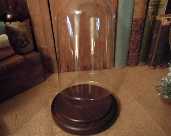 Vintage Cloche With Wood Base / Display Cloche / Vintage Glass Display Dome