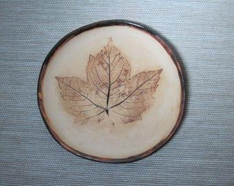 Stoneware plate with leaf print - custom