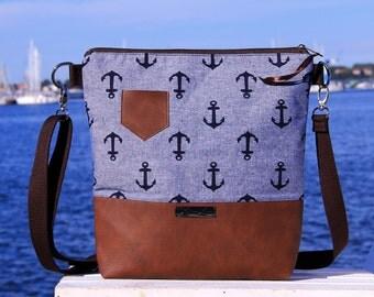 shoulder bag -Küstenleev Blue- Handmade, Unique, ZwillingsZwirn