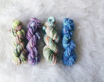 Handspun Yarn Pack ~ Super Chunky Yarns ~ Hand Dyed ~ OOAK ~ Chain Plied ~ 100% Natural Wools