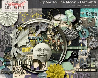 Moon, space, digital download, scrapbook alpha, vintage, stars, galaxy, astronaut, cosmic, sci-fi, love, fly, rocket, Jules Verne