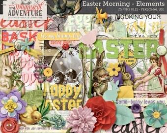 Easter scrapbook elements, digital download, vintage ephemera, spring, easter bunny, egg hunt, paint, photomask, stitches, mixed media
