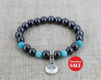 Tree of life jewelry Hematite bracelet for mom gift for sister gift for girlfriend gift for boyfriend gift for men gift idea Mother day gift