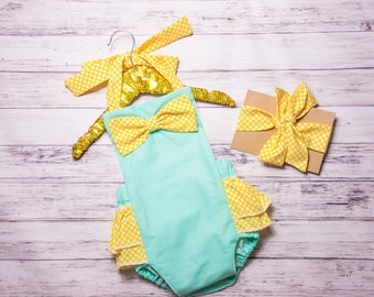 Mint and Yellow Bow Romper- Baby Girl Romper, polka dot ruffle Romper, mint polka dot romper, yellow polka dot outfit