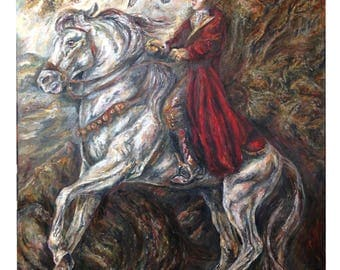 Original Horse Painting on Canvas - H is for Hawk, By Barbara Colbert