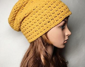 Yellow Saffron LOUISON Crocheted Hat - Hand Made Crocheted Hat - Yellow Saffron Slouchy Hat - Woman Hat - Man Hat - Ready To Ship