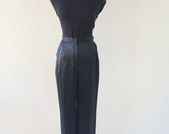 VTG Silk Satin Wide Leg Trousers by Givenchy Couture