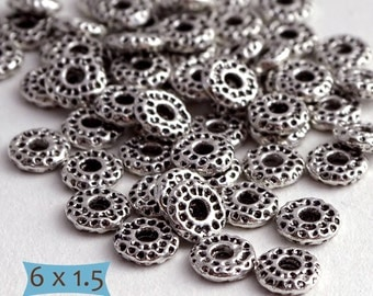 Small Slim Rough Surface Pewter Spacers--100 Pcs | 24-SU122-100