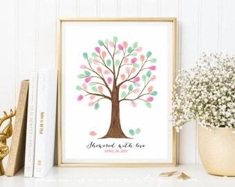 Fingerprint tree guestbook, thumbprint tree guest book, Birthday gift Family tree watercolor, Baby shower alternative digital file printable